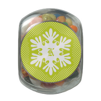 Green Snowflake Initial Jelly Belly Candy Glass Candy Jar