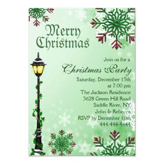 Green Snowflake & Light Christmas Party Invitation