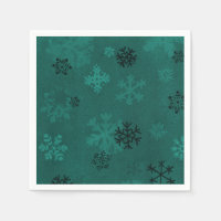 Green snowflake paper napkins