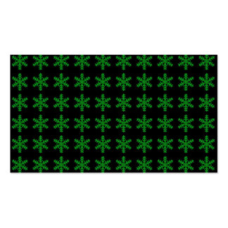 Green Snowflake Pattern with Black Background Business Card