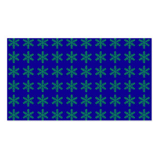 Green Snowflake Pattern with Blue Background Business Card