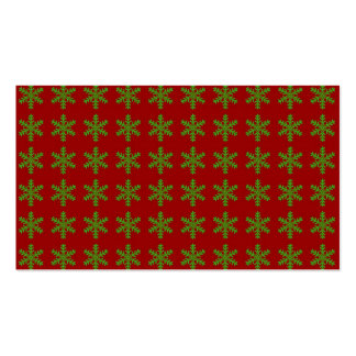 Green Snowflake Pattern with Red Background Business Cards