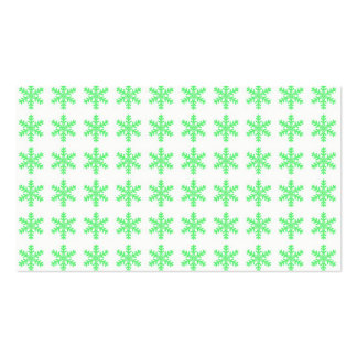 Green Snowflake Pattern with White Background Business Cards