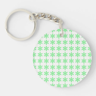 Green Snowflake Pattern with White Background Keychain