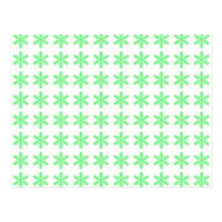Green Snowflake Pattern with White Background Postcard