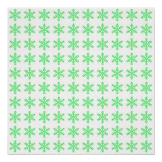 Green Snowflake Pattern with White Background Poster