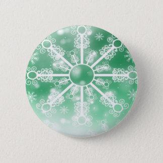 Green Snowflake Pinback Button