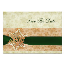 green snowflake save the date announcement