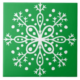 Green Snowflake Tile