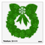 Green Snowflake Wreath Wall Decal