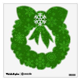 Green Snowflake Wreath Wall Decal