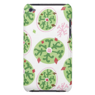 Green Snowflakes and Red Diamonds Retro Christmas iPod Touch Covers