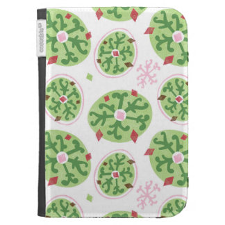 Green Snowflakes and Red Diamonds Retro Christmas Kindle Cover