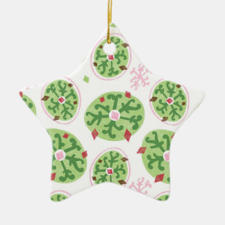 Green Snowflakes and Red Diamonds Retro Christmas Ceramic Ornament