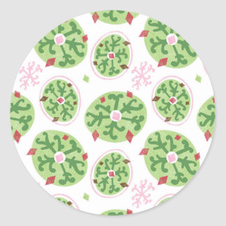 Green Snowflakes and Red Diamonds Retro Christmas Classic Round Sticker
