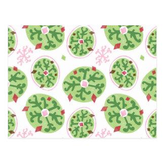 Green Snowflakes and Red Diamonds Retro Christmas Postcard
