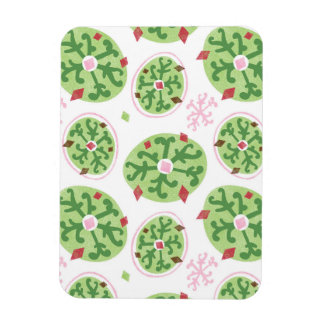 Green Snowflakes and Red Diamonds Retro Christmas Rectangular Magnet