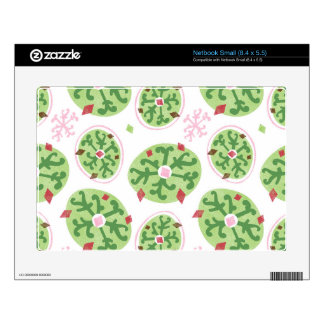 Green Snowflakes and Red Diamonds Retro Christmas Netbook Decals