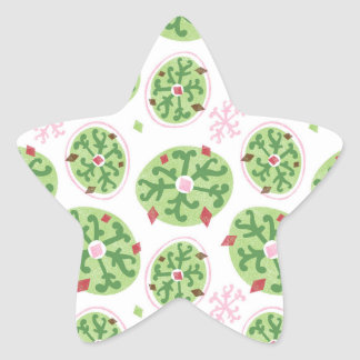 Green Snowflakes and Red Diamonds Retro Christmas Star Sticker