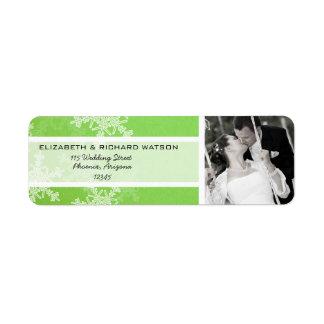 Green Snowflakes Christmas Wedding Label