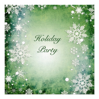 Green Snowflakes Holiday Party Invitation