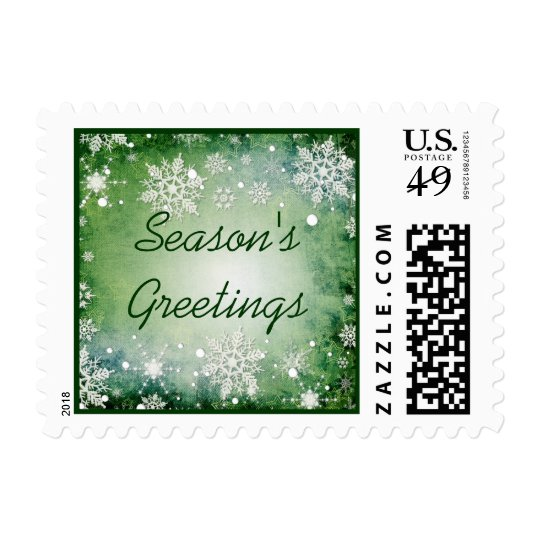 Green Snowflakes Holiday Postage