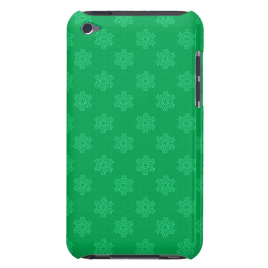 Green snowflakes pattern barely there iPod case