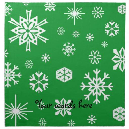 Green snowflakes pattern cloth napkins