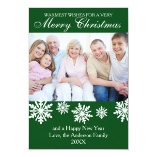 Green Snowflakes Photo - 3x5 Christmas Card