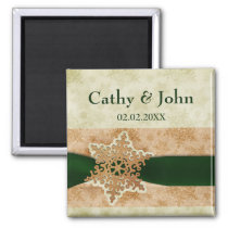 green snowflakes save the date magnets
