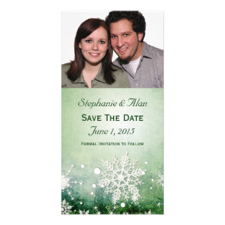 Green Snowflakes Save The Date PhotoCards Card