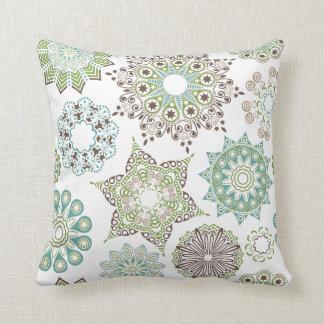 Green Snowflakes Throw Pillow