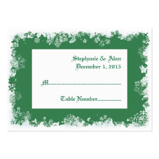 Green Snowflakes Wedding Place Cards Business Cards