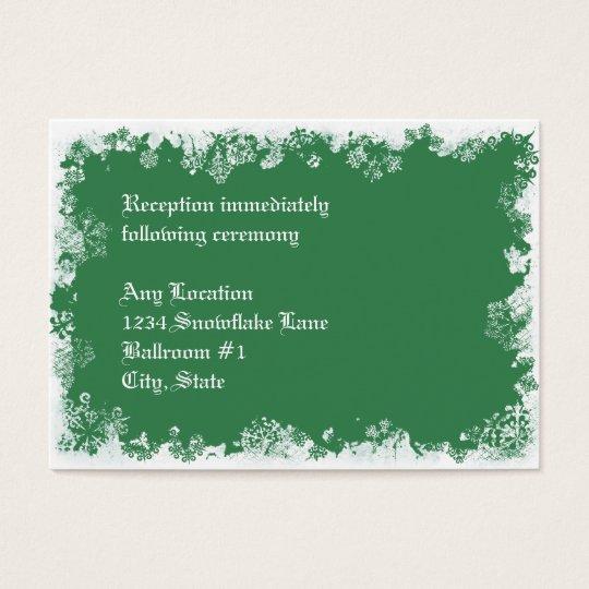 Green Snowflakes Wedding Reception Card