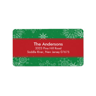 Green Snowflakes Winter Holiday Return Address Address Label