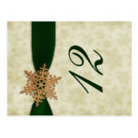 green snowflakes winter wedding table numbers post card