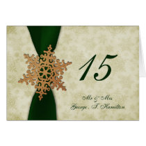 green snowflakes winter wedding table seating card