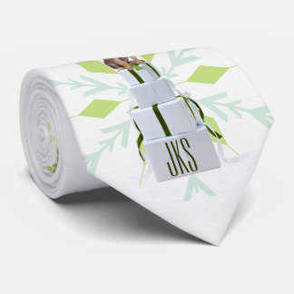 Green Snowflakes with Papillon Dog and Monogram Neck Tie