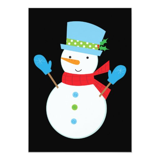 "Green Snowman Christmas Party Invitation (black) 5"" X 7"" Invitation Card"