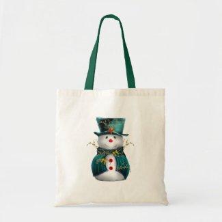 Green Snowman Christmas Tote Bag