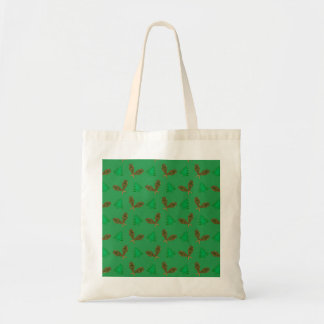 Green snowshoe pattern canvas bags