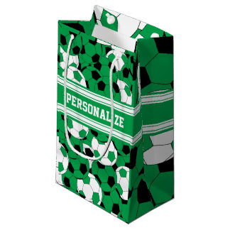Green Soccer Ball Collage | Personalize Small Gift Bag