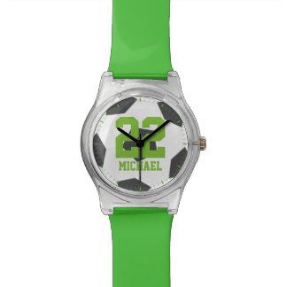 Green Soccer Ball Kids Wrist Watch