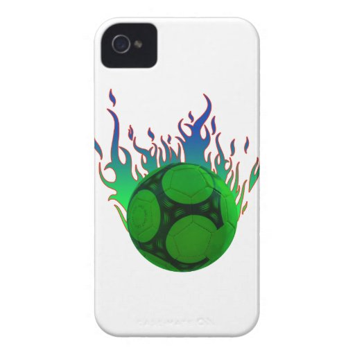 Green Soccer ball on fire. iPhone 4 Cases