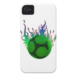 Green Soccer ball on fire. iPhone 4 Case