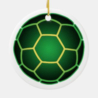 Green soccer ball christmas ornament