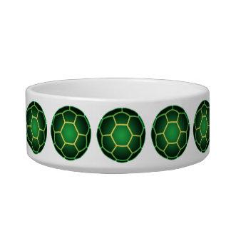 Green soccer ball cat bowl