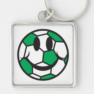 green soccer ball smiley face keychain