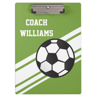 Green Soccer Coach Personalized Clipboard