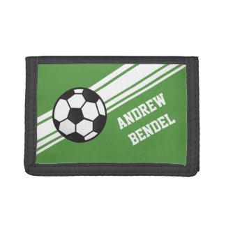 Green Soccer Sporty Sport Stripes Boys Wallet